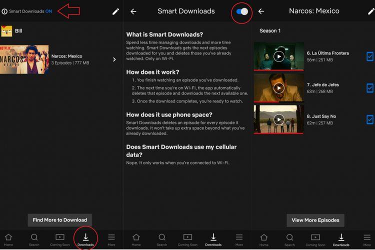 Ilustrasi menu fitur Smart Downloads Netflix
