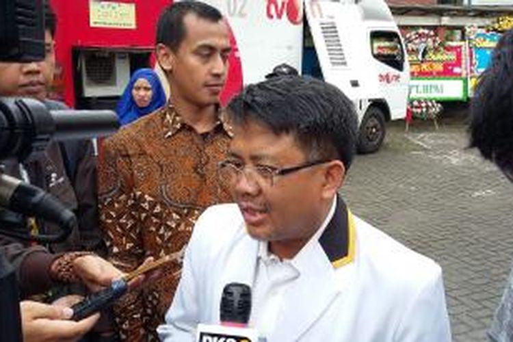 Presiden PKS Sohibul Iman saat ditemui di sela Rakornas PKS di Hotel Bumi Wiyata Depok, Jawa Barat, Selasa (12/1/2016).