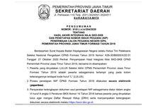 Informasi Pemberkasan dan Link Pengumuman Hasil CPNS 2019 Pemprov Jawa Timur