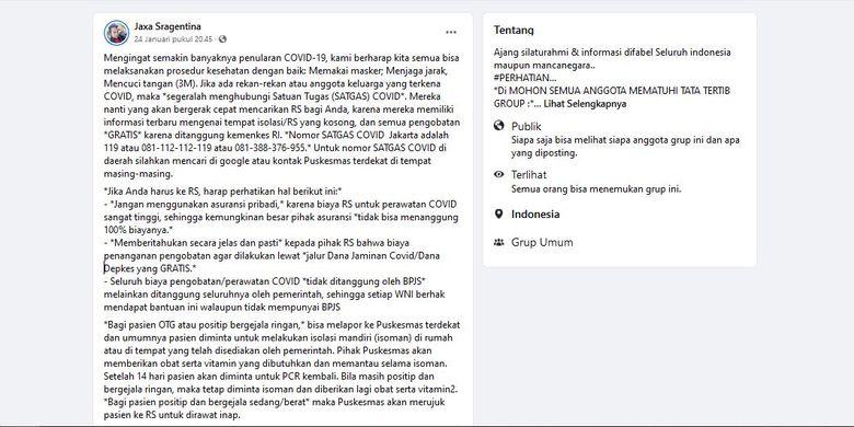 Tangkapan layar unggahan yang memuat kontak Satgas Covid-19 DKI Jakarta yang salah