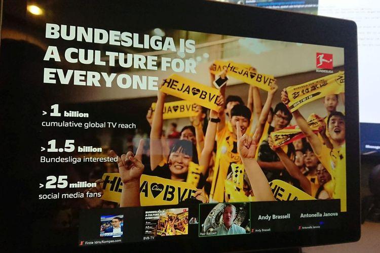 Sesi media visit virtual  Bundesliga pada Minggu (15/8/2021) yang turut dihadiri oleh Kompas.com. Sesi ini diadakan dalam rangka menyambut Piala Super Jerman pada Rabu (18/8/2021) dini hari WIB.