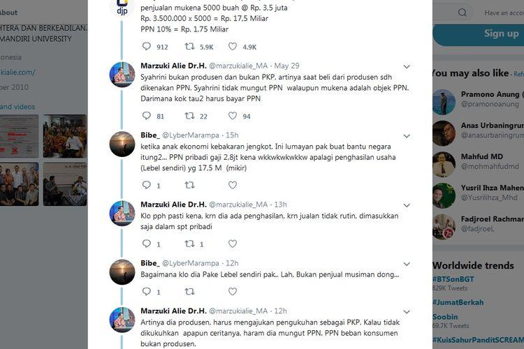 Bidik layar twit-twit mantan Ketua DPR RI Marzuki Alie yang membela Syahrini soal pajak bisnis mukena.