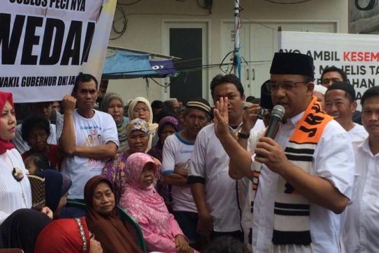 Calon gubernur DKI Jakarta, Anies Baswedan di Grogol Utara, Jakarta Selatan, Kamis (9/3/2017).