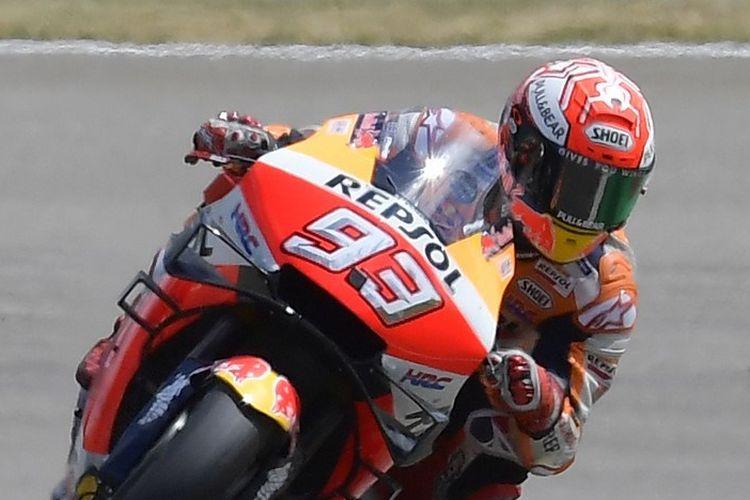 Pebalap Repsol Honda, Marc Marquez, memenangi MotoGP Jerman 2019, 7 Juli 2019.