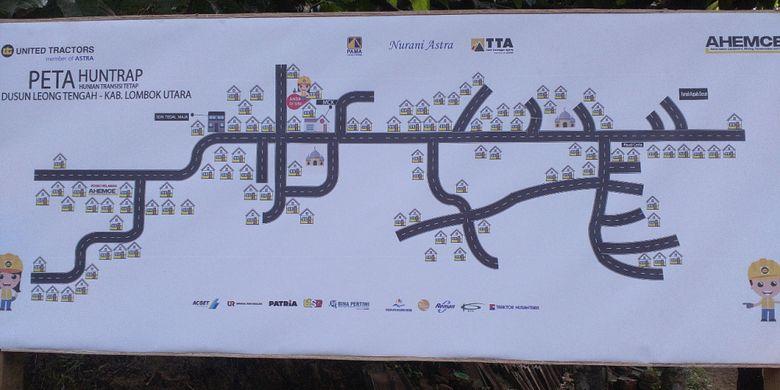 Peta lokasi penyebaran pembangunan 100 hunian transisi menuju permanen (huntrap) dan MCK yang dilakukan PT United Tractors Tbk (UT) di Dusun Leong Tengah, Desa Tegal Maja, Kecamatan Tanjung, Kabupaten Lombok Utara.
