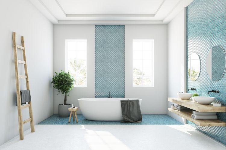 ilustrasi kamar mandi modern.