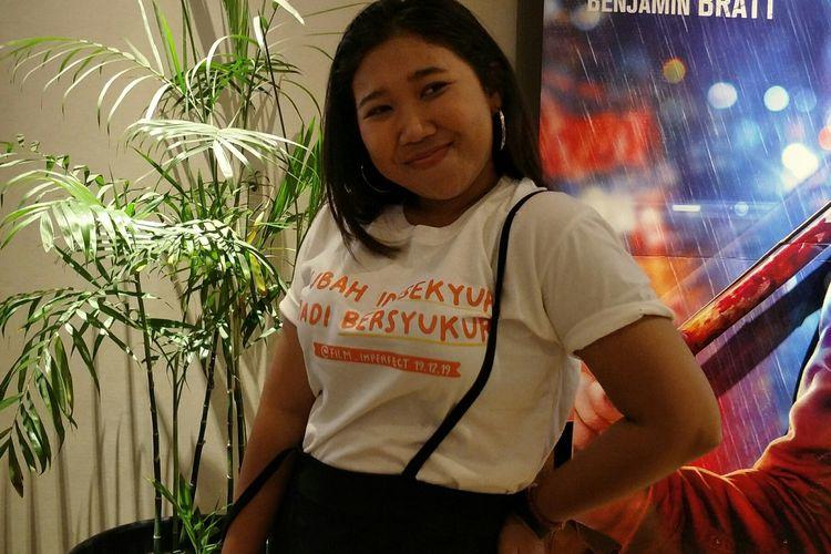 Kiky Saputri di sela-sela cinema visit film Imperfect di XXI Mal Kelapa Gading, Kamis (26/12/2019).
