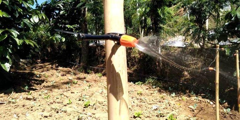 Pemasangan selang pada alat irigasi otomatis yang dapat menghalau embun upas oleh mahasiswa UGM.
