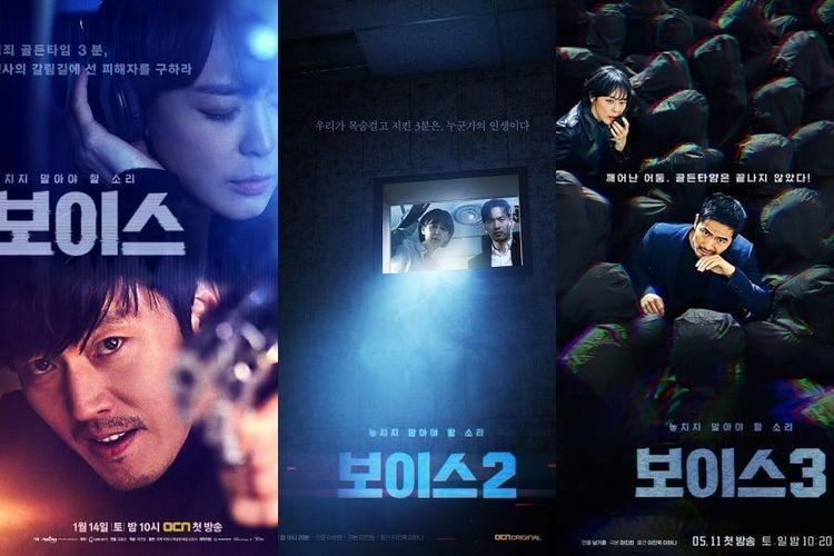 Poster drama seri televisi produksi Korea Selatan yang berjudul Voice 1, 2, dan 3.