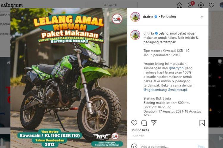 Lelang Kawasaki KSR 110 di Instagram dr. Tirta