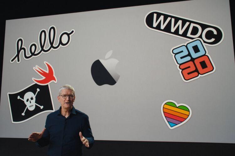 CEO Apple Tim Cook dalam keynote WWDC 2020 yang digelar secara virtual.