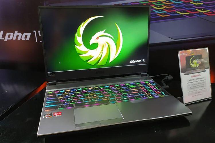 Laptop MSI Alpha 13 A3DD dengan RGB backlight per tombol.