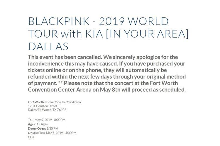 Informasi mengenai pembatalan konser BLACKPINK di Dallas, AS, pada 8 Mei 2019.