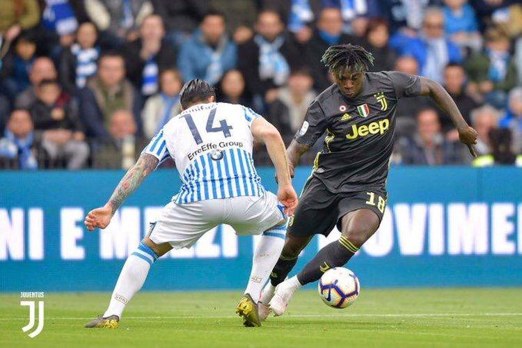 Aksi Moise Kean saat laga SPAL vs Juventus, 13 April 2019.