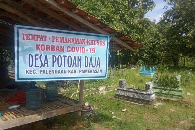 Pemerintah Desa Potoan Daja, Kecamatan Palengaan, Kabupaten Pamekasan menyiapkan tempat pemakaman bagi korban meninggal Corona sebagai bentuk keprihatinan atas banyaknya penolakan pemakaman jenasah korban Covid-19.