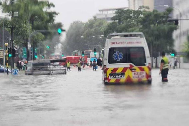Banjir bandang di Singapura.