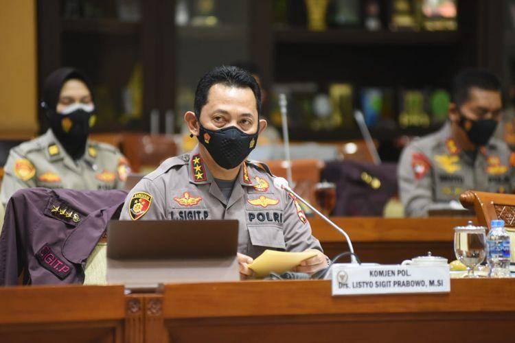 Calon tunggal kapolri Komjen Listyo Sigit Prabowo saat mengikuti uji kepatutan dan kelayakan dengan Komisi III DPR, Rabu (20/1/2021).