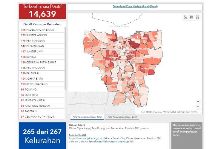 Data dan peta sebaran kasus Covid-19 di Jakarta per 13 Juli 2020. Dari 267 kelurahan, tersisa dua kelurahan yang masih nihil kasus positif Covid-19 hingga saat ini.
