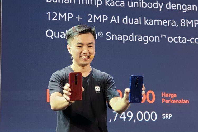 Country Director Xiaomi Indonesia, Alvin Tse di acara peluncuran Redmi 8 di Jakarta, Rabu (4/12/2019).