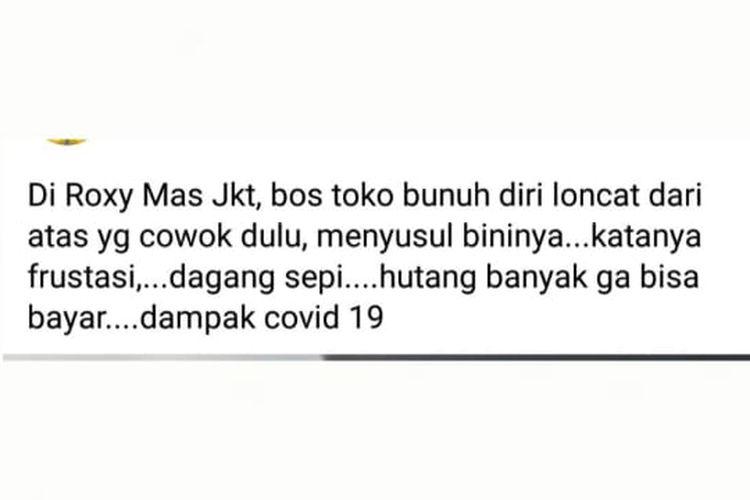 Status Facebook yang keliru soal suami istri bunuh diri di Roxy, Jakarta.