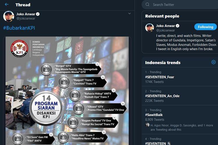 Bidik layar twit Joko Anwar yang menanggapi sanksi KPI terhadap tayangan promo film Gundala di televisi.(Twitter)