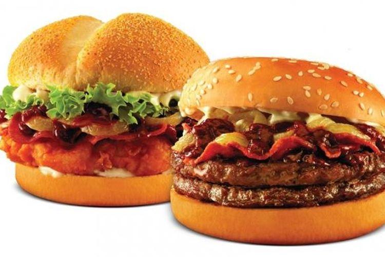 Tenderscrisp Rendang Deluxe (daging ayam) dan Doubles Rendang Deluxe (daging sapi) dari Burger King.