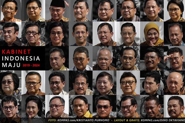 Kolase foto memperlihatkan susunan menteri Kabinet Indonesia Maju, saat diumumkan dan diperkenalkan oleh Presiden Joko Widodo di Istana Negara, Jakarta, Rabu (23/10/2019).