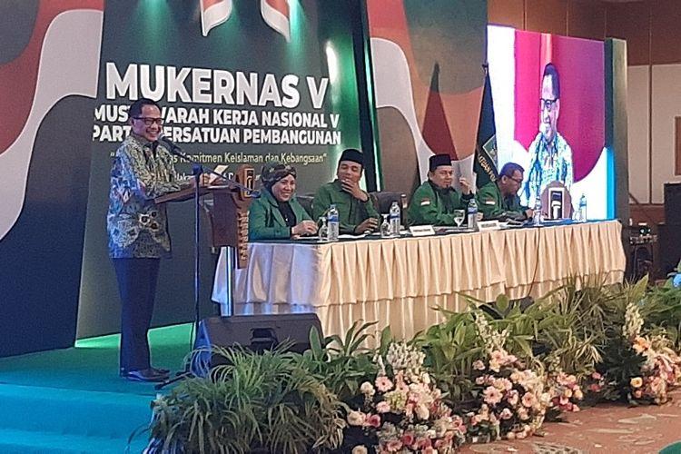 Menteri Dalam Negeri Tito Karnavian saat menjadi pembicara dalam Mukernas V PPP di Hotel Grand Sahid Jaya, Jakarta, Sabtu (14/12/2019) malam.
