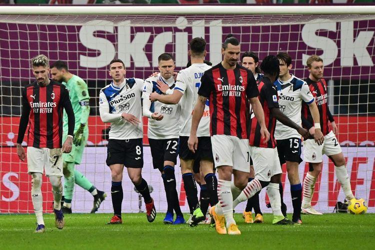 Josip Ilicic melakukan selebrasi seusai menjebol gawang AC Milan melalui tendangan penalti. Laga AC Milan vs Atalanta pada pekan ke-19 Liga Italia Serie A 2020-2021 digelar di Stadion San Siro, Sabtu (23/1/2021).