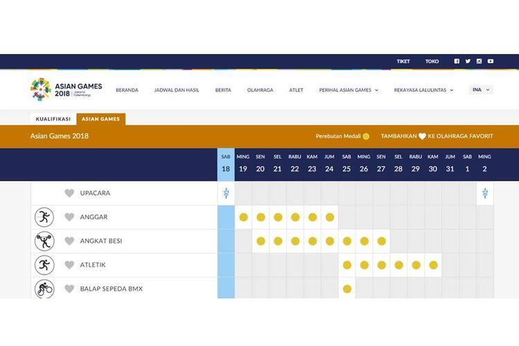 Jadwal pertandingan Asian Games 2018, yang dilansir dari situsweb resmi www.asiangames2018.id