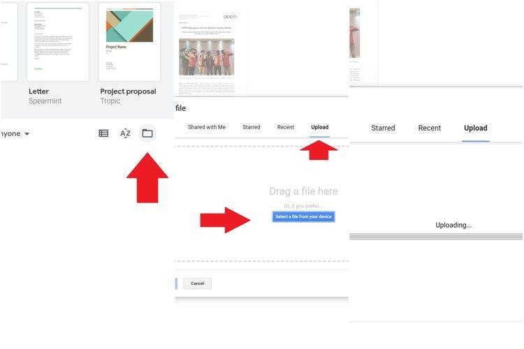 Membuka file .docx di Google Docs.