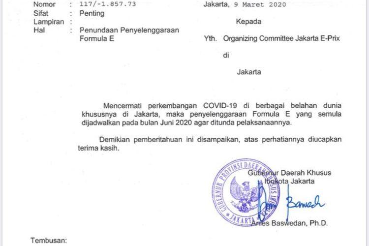 Surat pemberitahuan penundaan gelaran Formula E yang ditandatangani oleh Gubernur DKI Jakarta Anies Baswedan