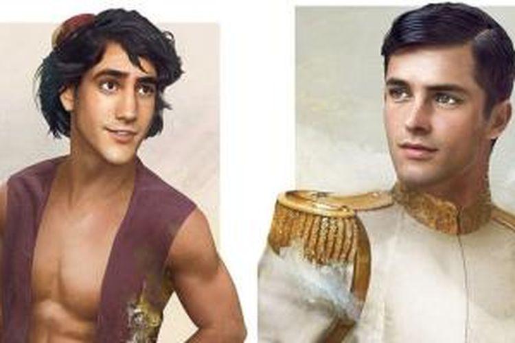 Jirka Väätäinen menggunakan imajinasinya untuk membayangkan rupa para pangeran Disney. seperti Aladdin (kiri) dan Prince Charming (kanan) dari cerita Cinderella.