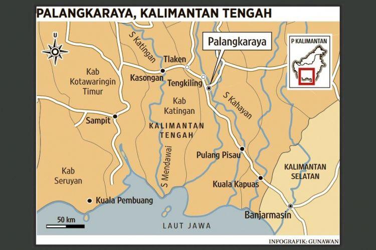 Peta Kalimantan Tengah dengan ibu kota di Palangkaraya