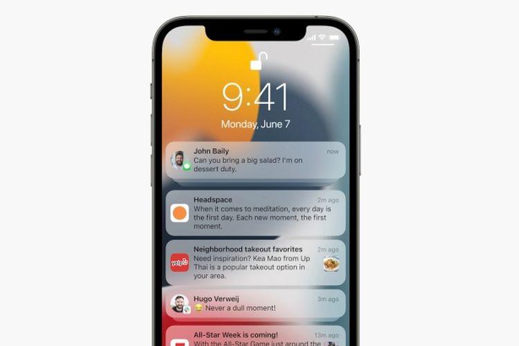 Notifications di iOS 15