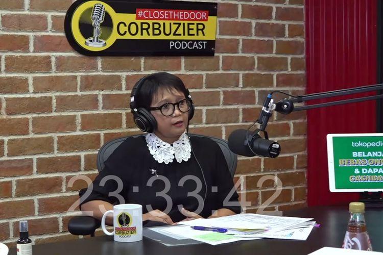 Menteri Luar Negeri RI, Retno Marsudi saat menjadi bintang tamu di Podcast Deddy Corbuzier