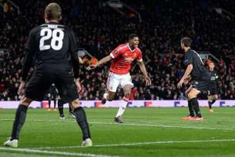 Marcus Rashford jadi bintang kemenangan Manchester United atas Midtjylland di Old Trafford, Kamis (25/2/2016).