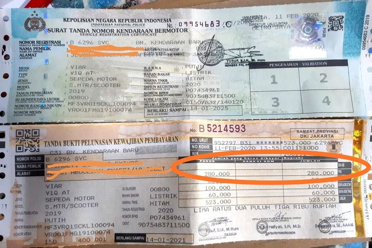 STNK Viar Q1 bebas pajak BBN-KB DKI Jakarta