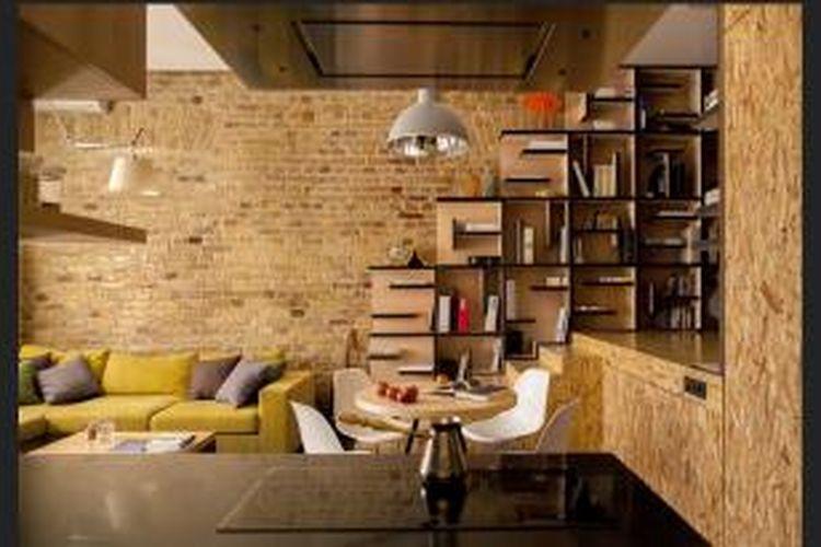 Secara khusus, pasangan pemilik apartemen ini menginginkan perpustakaan built-in. Karena itu, Bykov membuatkan perpustakaan unik dan istimewa di atas podium. Dengan adanya panggung tersebut, pasangan ini mendapatkan ruang penyimpanan lebih dan area khusus untuk membaca.