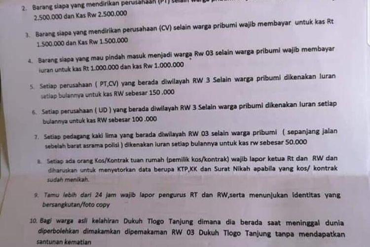 Surat edaran penarikan iuran RW 03 Kelurahan Bangkingan, Lakarsantri, Surabaya, Jawa Timur menggunakan diksi pribumi dan non pribumi.