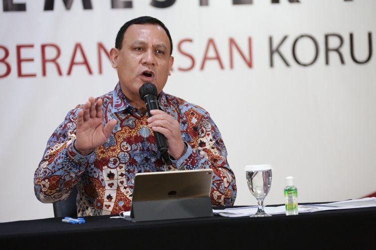 Ketua KPK Firli Bahuri dalam konferensi Kinerja KPK Semester I 2020, Selasa (18/8/2020).