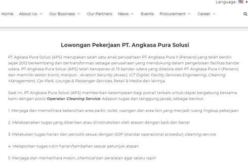 Catat, PT Angkasa Pura Solusi Buka Lowongan untuk SMA/SMK Sederajat