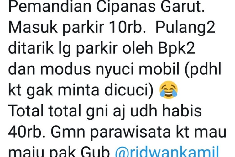 Tangkapan layar akun twitter @kangnugo85 yang mengeluhkan soal biaya parkir dan cuci mobil paksa di objek wisata Cipanas Garut yang diunggah Minggu (24/12/2019)