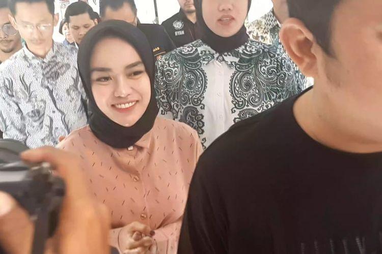 Pengusaha dan influencer Medina Zein saat ditemui di Polda Metro Jaya, Semanggi, Jakarta Selatan, Jumat (3/1/2020).