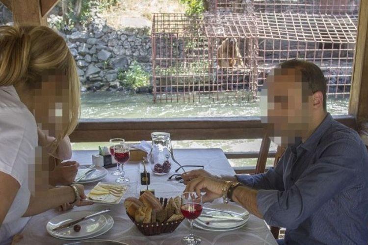 Seekor beruang terlihat berada di kandang kecil. Beruang itu dijadikan hiburan di sebuah restoran, di Armenia. (Daily Mail)