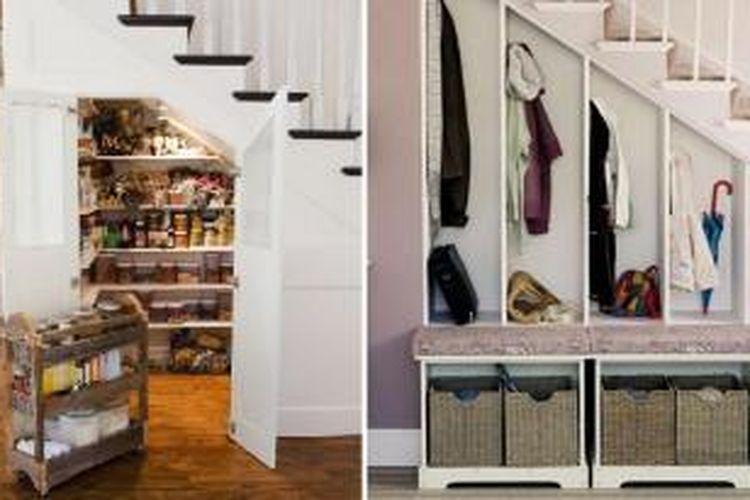 Manfaatkan ruang di bawah tangga untuk berbagai keperluan. Anda bisa memanfaatkannya sebagai lemari baju, hingga lemari penyimpanan makanan.