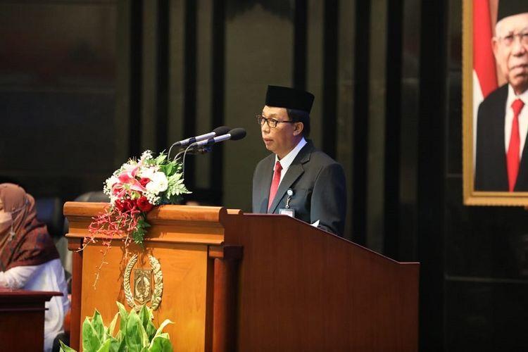 Sekjen Kemendagri Muhammad Hudori dalam sambutannya pada Rapat Paripurna DPRD Provinsi DKI Jakarta Memperingati HUT ke 494 Kota Jakarta di Ruang Rapat Paripurna, Gedung DPRD DKI Jakarta, Selasa (22/6/2021).