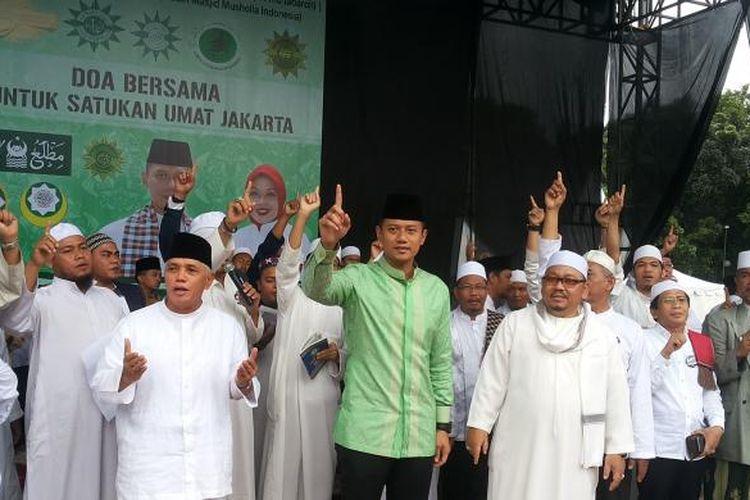 Calon gubernur DKI Jakarta nomor pemilihan satu, Agus Harimurti Yudhoyono saat acara