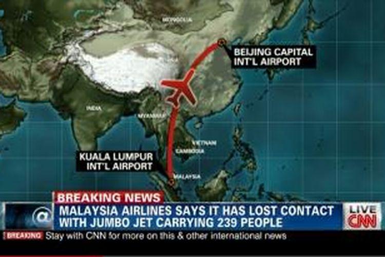 Rute penerbangan Malaysia Airlines yang hilang, Sabtu (8/3/2014) pagi