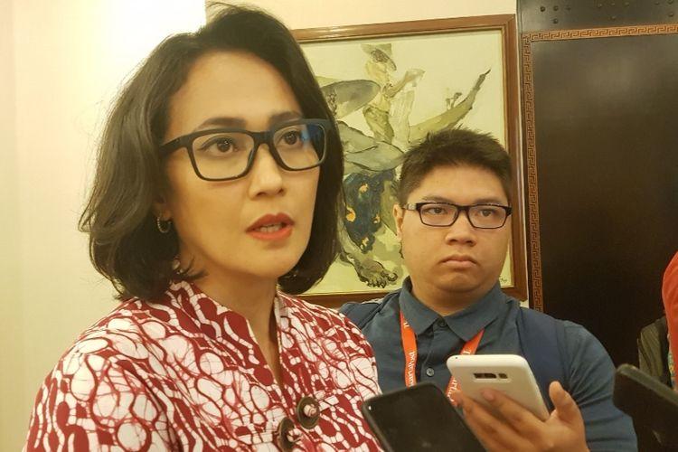 Christina Aryani saat diwawancara usai mengisi diskusi CSIS bertajuk Anggota DPR Baru yang Muda: Apa yang Bisa diperbuat? di Kantor CSIS, Jakarta Pusat, Kamis (29/8/2019).
